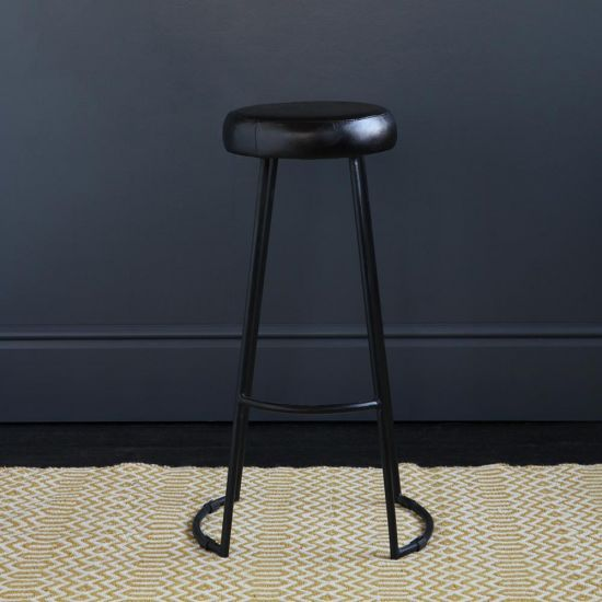 TAPAS INDUSTRIAL BAR STOOL BLACK LEATHER SEAT 78 CM BLACK BASE