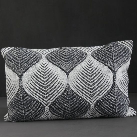 Aradi Tonal Cushion Grey Cotton 50cm x 30cm Lounge Bedroom Mid Century