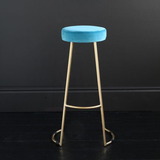 Tapas Velvet Cocktail Bar Stools - Pacific Blue Velvet Seat - Gold base - 75 cm