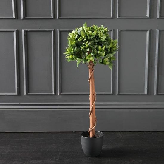 Bay Artificial Plant Tree Green - Brown - Black Pot Decoration Flower 100cm