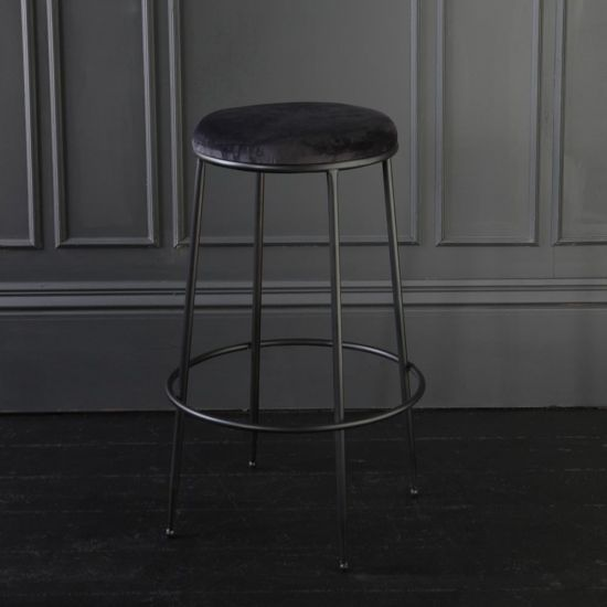 Bremen Bar Stool Velvet & Metal Black Breakfast Kitchen 78 cm