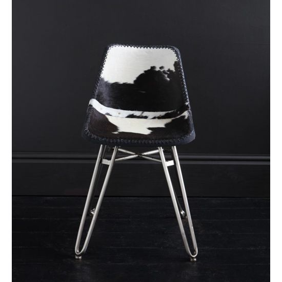 HAIRPIN DINING CHAIR WITH BLACK & WHITE COW HIDE ROAD HOUSE SEAT AND NICKEL BASE