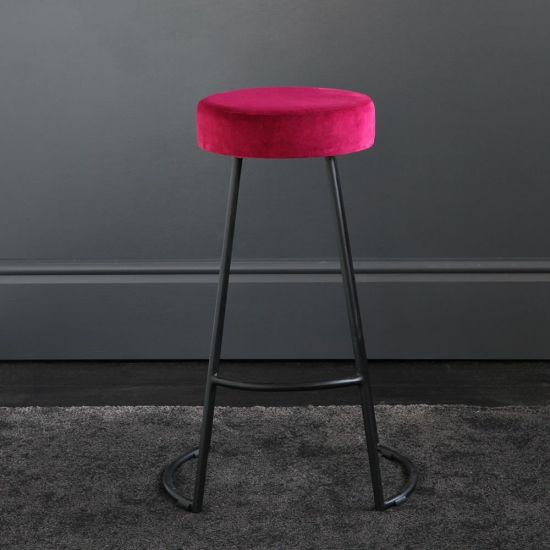 Tapas Velvet Cocktail Bar Stools - Tulip Red Velvet Seat - Black base - 67cm