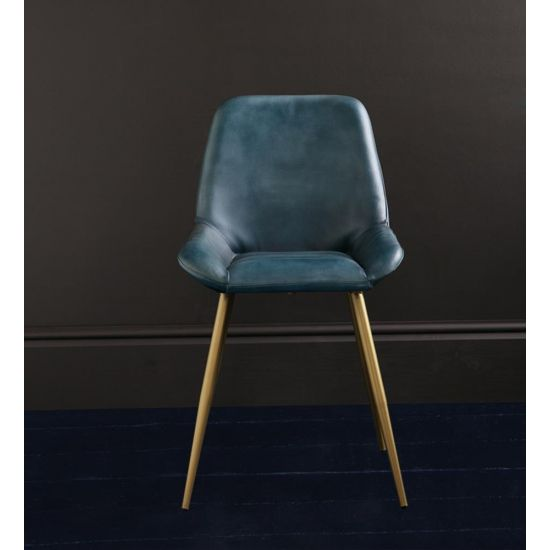 BROOKLYN DINING CHAIR IN BLUE BUFFALO LEATHER SEAT & DULL GOLD LEGS
