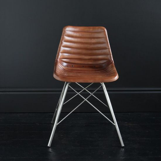 ROAD HOUSE CHAIR WITH BROWN RIBBED SEAT AND NICKEL CROSS LEG