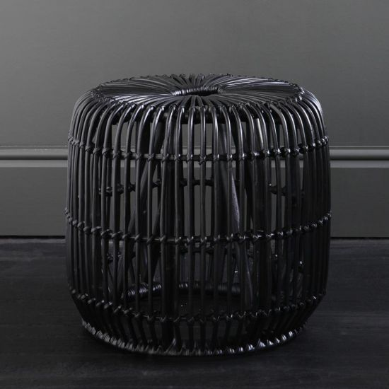 Black Rattan Side Table 47 cm Height