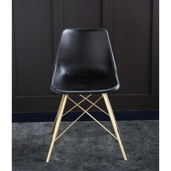 ROAD HOUSE CHAIR WITH BLACK SEAT AND GOLD CROSS LEG