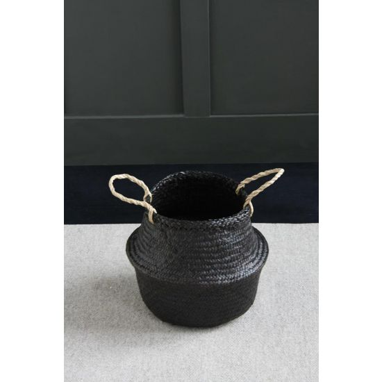 Seagrass Black Belly Basket Wickerwork  30 cm
