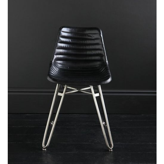 HAIRPIN DINING CHAIR WITH BLACK RIBBED ROAD HOUSE SEAT AND NICKEL BASE