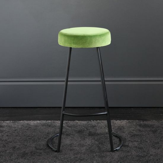 Tapas Velvet Cocktail Bar Stools - Green Grass Velvet Seat - Black base - 67cm