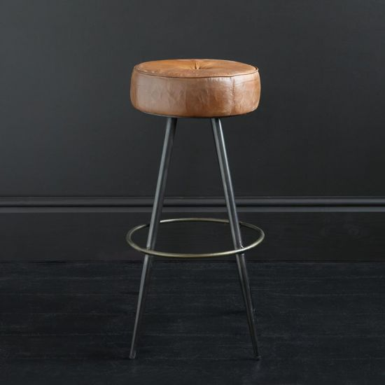 Crompton 75 Brown Leather Round Bar Stool with Pewter Coloured Frame and Brass-Finished Footrest.