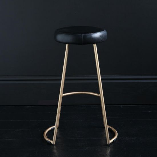 TAPAS INDUSTRIAL BAR STOOL BLACK LEATHER SEAT 69 CM GOLD BASE