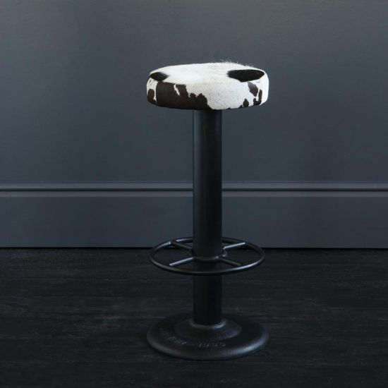 THE POLE METAL STURDY BAR STOOL BLACK & WHITE, 70 CM OVERALL HEIGHT