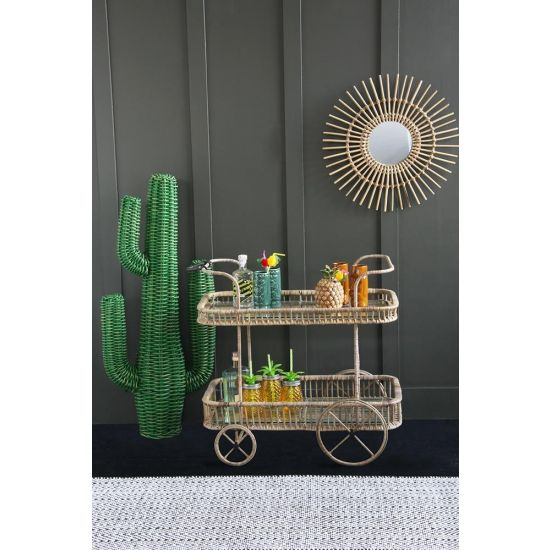 Rattan Tiki Bar Cart / Drinks Trolley