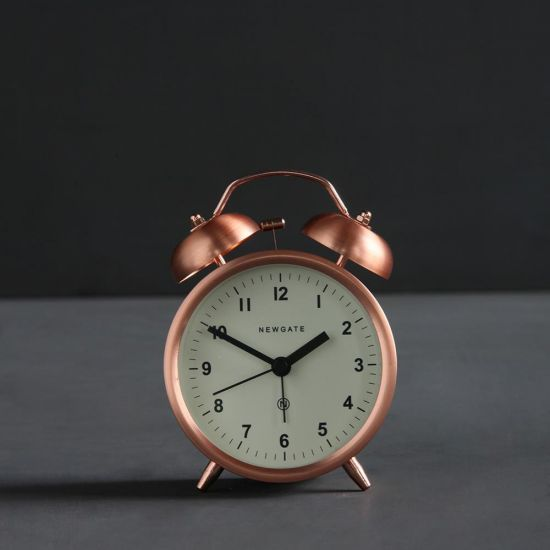 Charlie Alarm Desk Clock Traditional Copper - White Desck