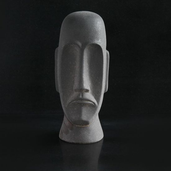 Easter Island Black Head Decorative Statue in Stoneware