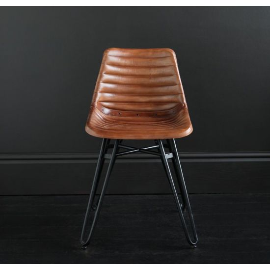 HAIRPIN DINING CHAIR WITH BROWN RIBBED ROAD HOUSE SEAT AND BLACK BASE