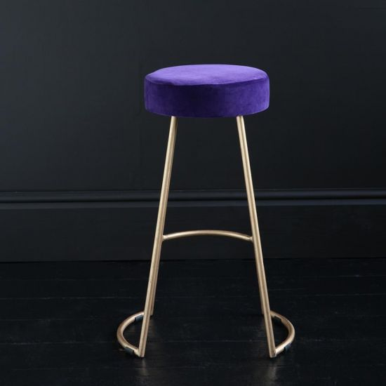 Tapas Velvet Cocktail Bar Stools - Royal Purple Velvet Seat - Gold base - 67cm