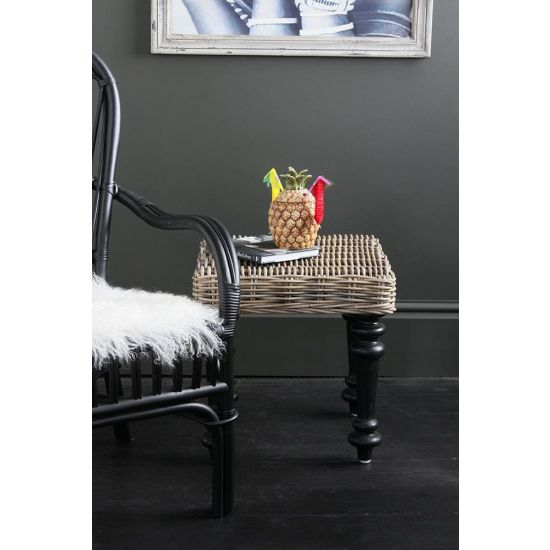 Kruk Rattan Side Table Natural Grey Black Farmhouse Leg