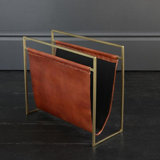 SOHO LEATHER MAGAZINE RACK TAN & BRASS FRAME