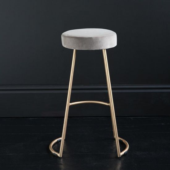 Tapas Velvet Cocktail Bar Stools - Linen Velvet Seat - Gold base - 67cm