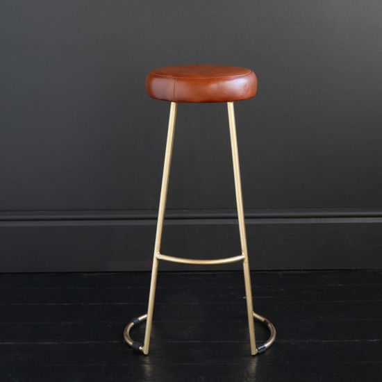 TAPAS INDUSTRIAL BAR STOOL TAN LEATHER SEAT 75 CM GOLD BASE