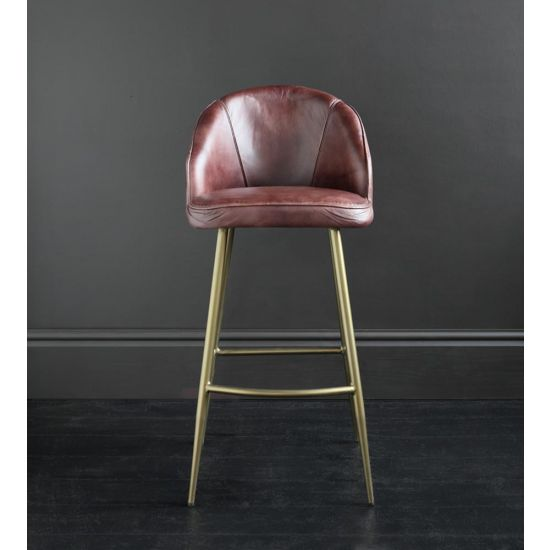 Ivy Bar Stool Brown Leather Seat with Dull Gold Metal Base 75 cm