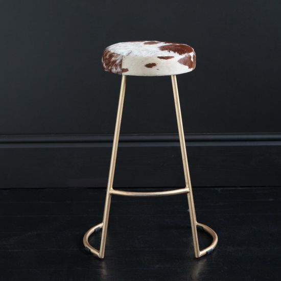 TAPAS INDUSTRIAL BAR STOOL BROWN & WHITE SEAT 67 CM GOLD BASE