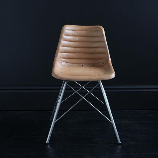ROAD HOUSE CHAIR WITH NICKEL CROSS LEGS & CAMEL RIBBED SEAT