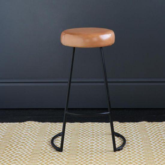 Tapas Industrial Bar Stool Caramel Leather Seat 67 cm Black Base