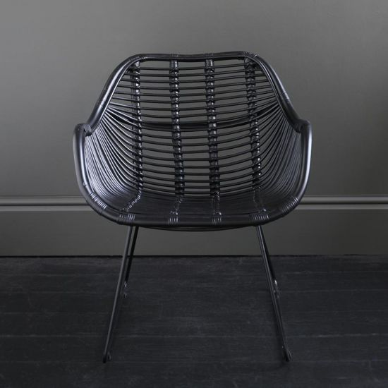 Rattan Conor Accent Chair - Black seat and Black Legs