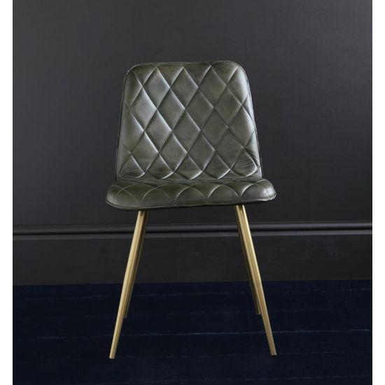HACKNEY LEATHER DINING CHAIR, CROSS STITCH DESIGN, GREEN BUFFALO