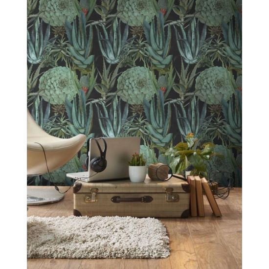 Succulentus Anthracite Wallpaper