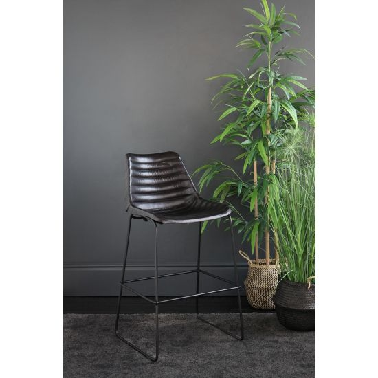 DELUXE ROAD HOSE BAR STOOL WITH BLACK RIBBED LEATHER SEAT 67 CM