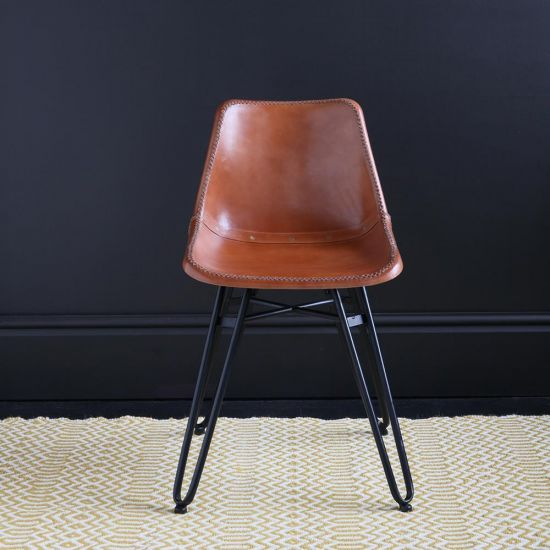 HAIRPIN DINING CHAIR WITH TAN ROAD HOUSE SEAT AND BLACK BASE