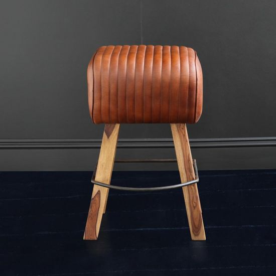 POMMEL BAR STOOL IN TAN BUFFALO LEATHER AND NATURAL WOOD LEG – 66CM