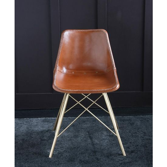 ROAD HOUSE CHAIR WITH TAN LEATHER SEAT & GOLD CROSS LEGS
