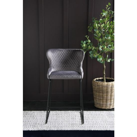 Cocktail Bar Stool in Grey Velvet - 66cm