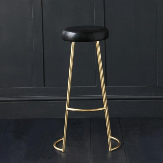 TAPAS INDUSTRIAL BAR STOOL BLACK LEATHER SEAT 75 CM GOLD BASE