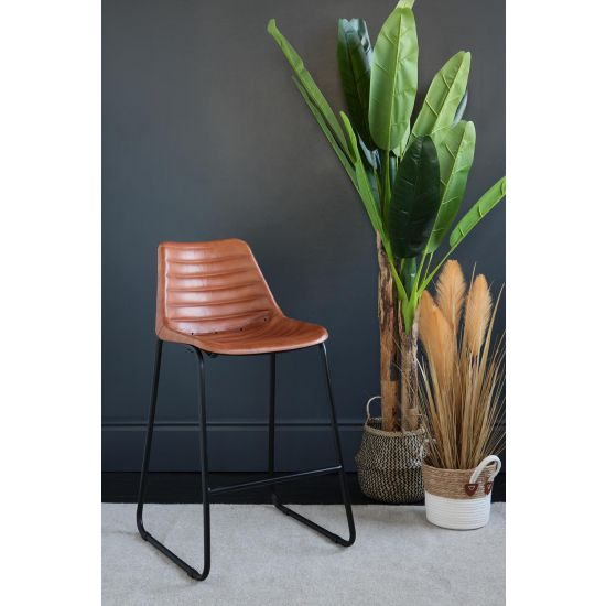 ROAD HOUSE BAR STOOL TAN RIBBED SEAT BLACK BASE 67 CM