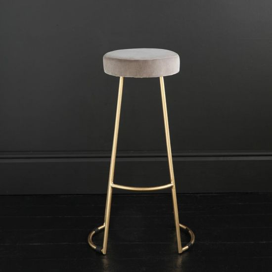 Tapas Velvet Cocktail Bar Stools - Linen Velvet Seat - Gold base - 75 cm
