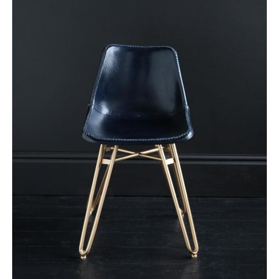 HAIRPIN DINING CHAIR WITH BLUE ROAD HOUSE SEAT AND GOLD BASE