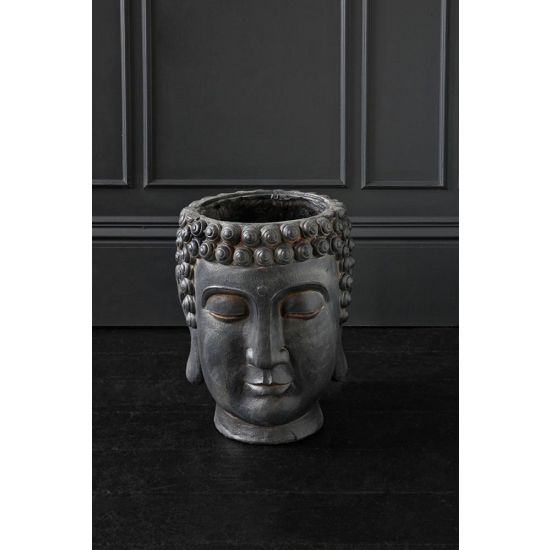 Buddha Head Polyresin Plant Pots Black Planters Display Ornament 44 cm