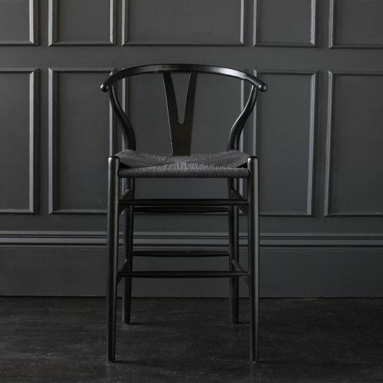 Wishbone Bar Stool Hans Wegner Style Black Frame Black Seat Breakfast 66