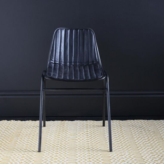 THE SCARSDALE WIRE DINING CHAIRE BLACK WITH UPHOLSTERED SEAT PAD AND BACK