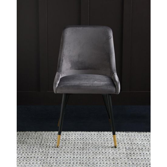 Mayfair Mid Century Velvet Dining Chair - Grey