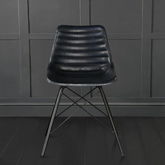 ROAD HOUSE CHAIR WITH BLUE RIBBED LEATHER SEAT AND BLACK CROSS LEG