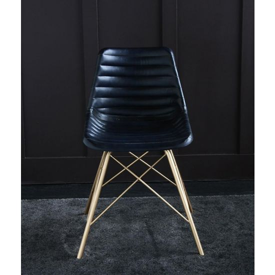 ROAD HOUSE CHAIR WITH BLUE RIBBED LEATHER SEAT & GOLD CROSS LEGS