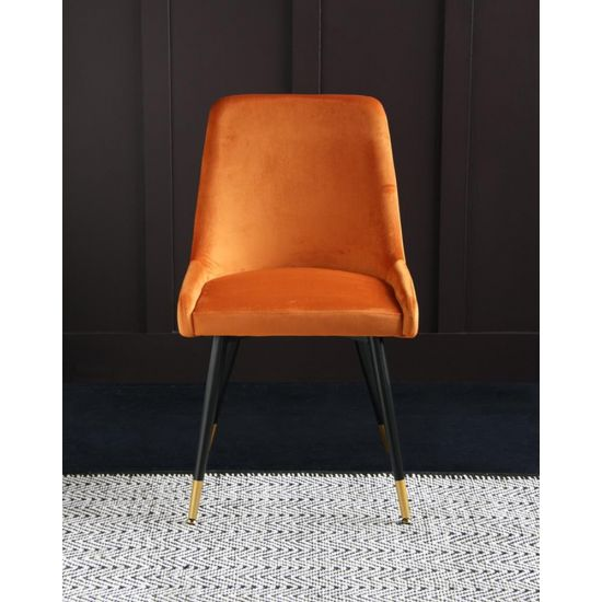 Mayfair Mid Century Velvet Dining Chair - Orange