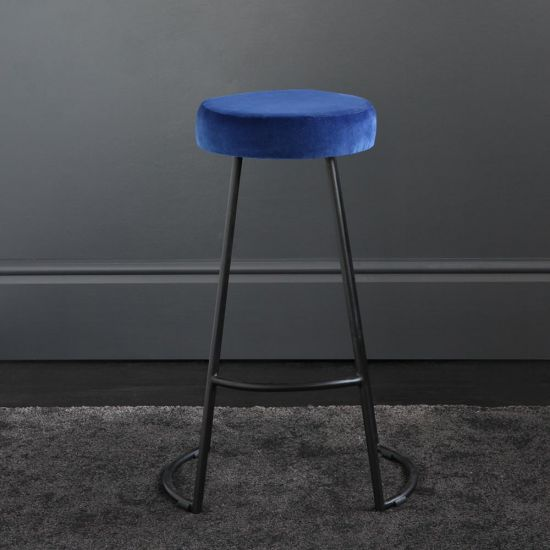 Tapas Velvet Cocktail Bar Stools - Azure Blue Velvet Seat - Black base - 67cm